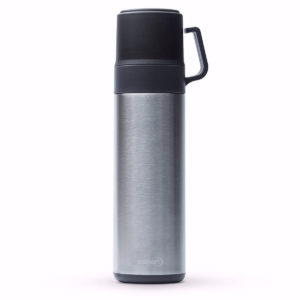 TERMO STEINER DOBLE TAZA COLOR PLATA 600 ML.
